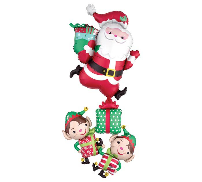 Santa and Christmas Elves Giant Multi-Balloon