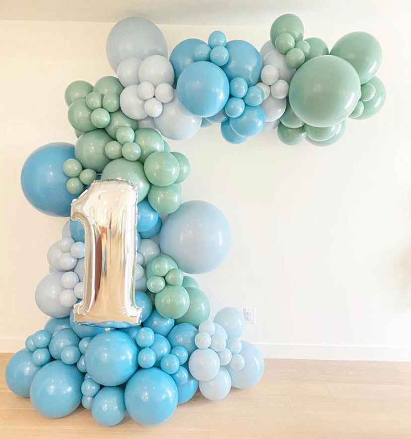 Custom 5x8FT  Half Organic Balloon Arch with Mylar Foil Number
