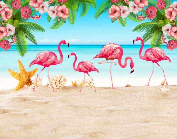 FLAMINGO 13ft x 8ft tall Rectangular Premium Fabric Backdrop