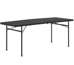 6 Foot Bi-Fold Plastic Folding Table, Black - For Rent
