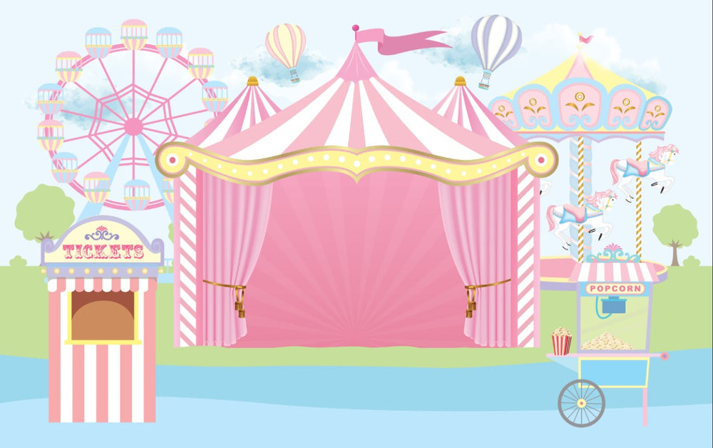 Pink Circus Theme Premium Fabric Backdrop 13' x 8' ft- For Rent