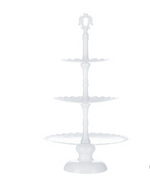 White Scalloped 3-Tier Metal Stand - For Rent