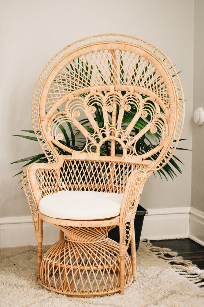Boho Rattan Peacock Wicker Chair - For Rent