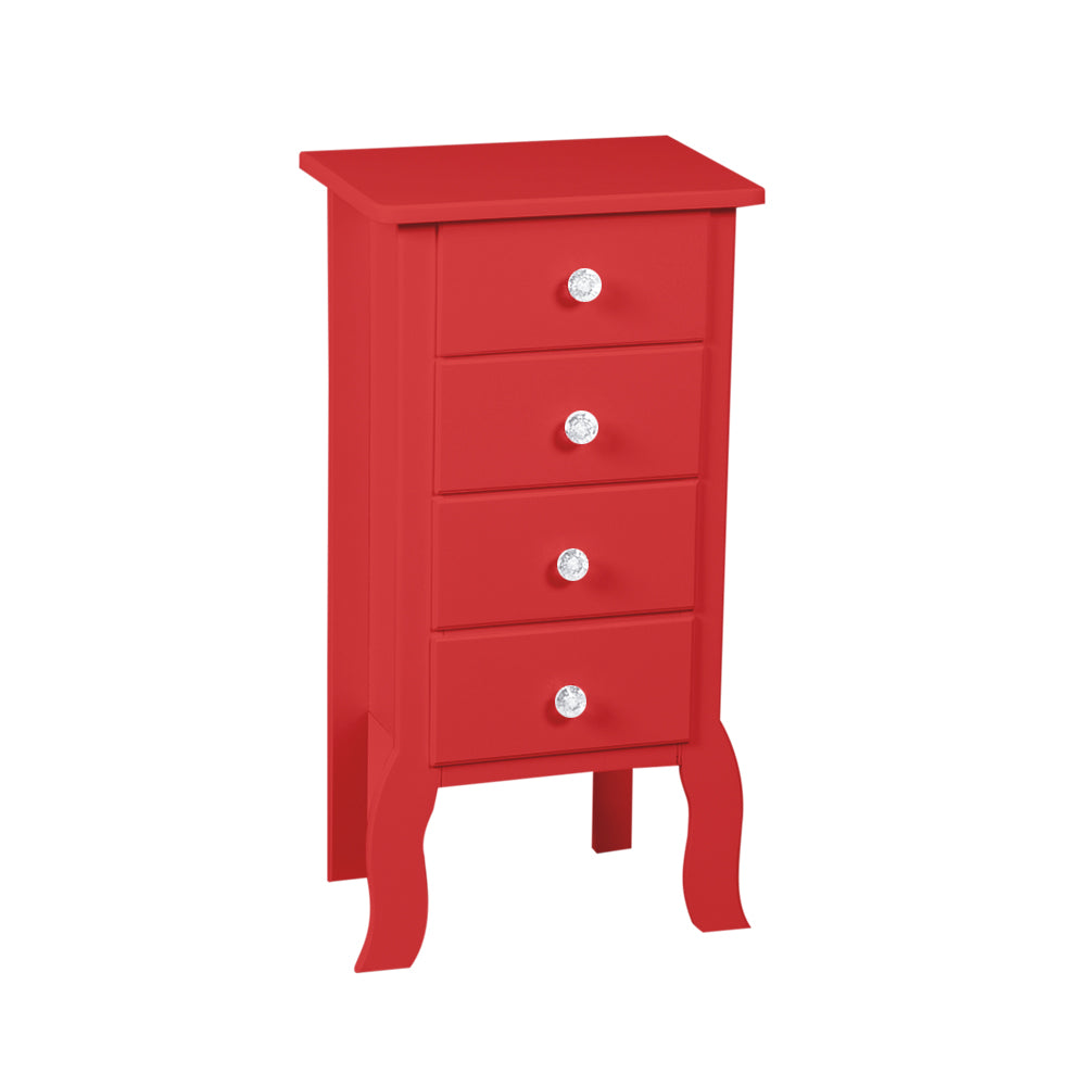 Red Accent 4 Drawer Chest Display