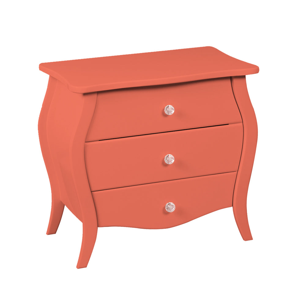 3 Drawer Coral Accent Nightstand Display