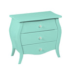 3 Drawer Turquoise Accent Nightstand Display