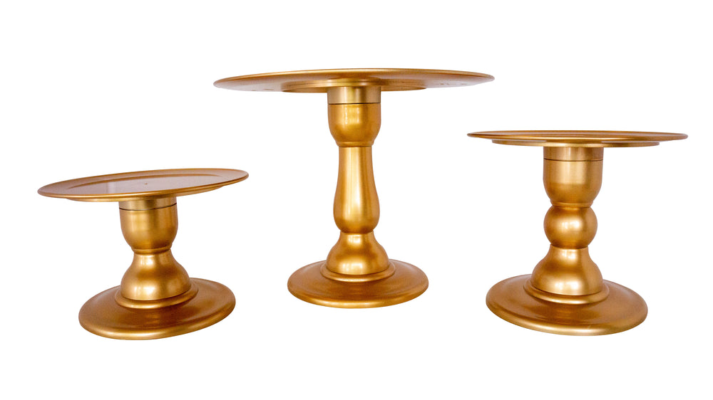 Gold Mosaic Cake Holders - For Rent