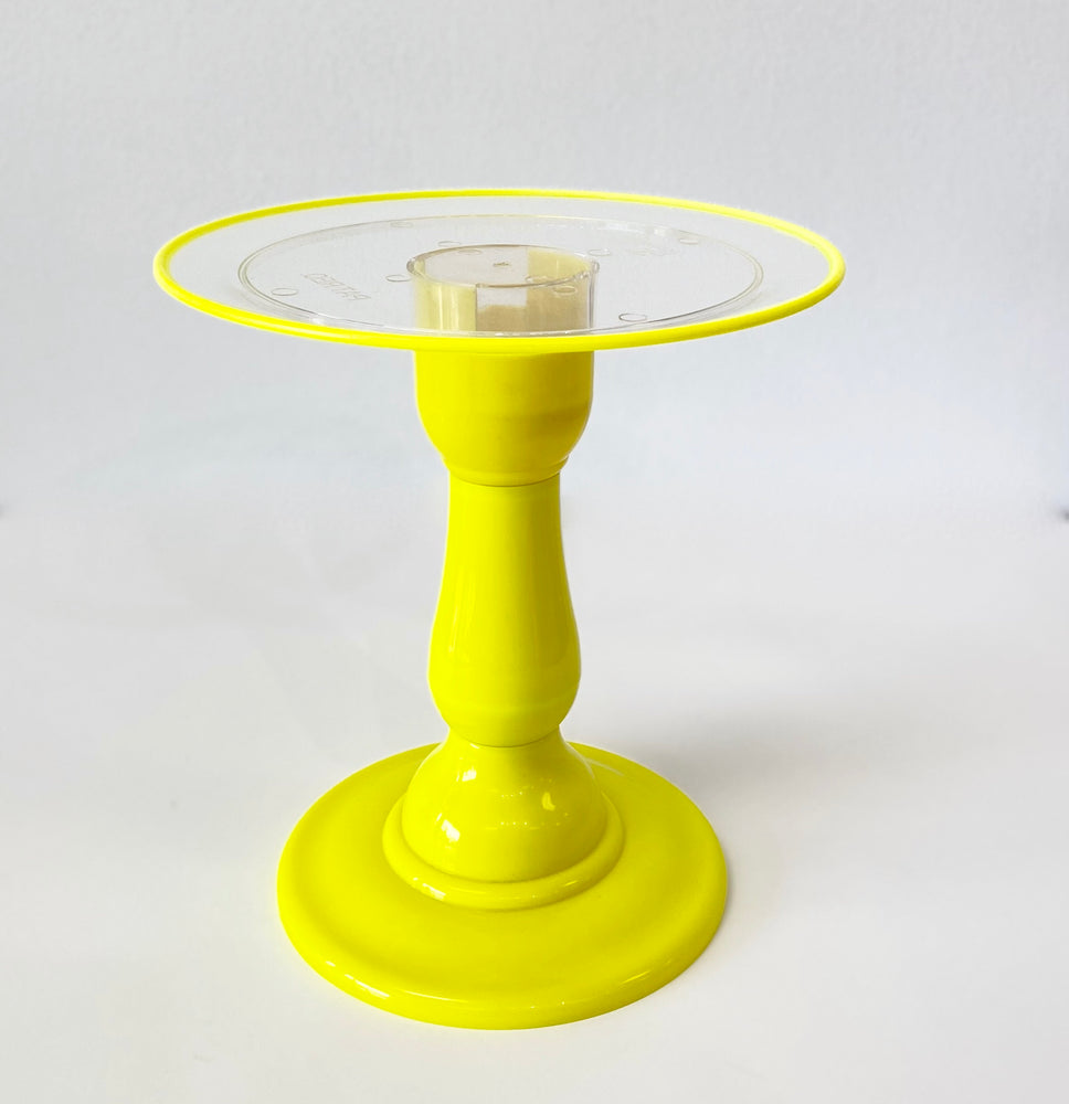 "Yellow NEON Tall Stand with 9"" Clear Round Plate and Yellow Border (235/220F)"