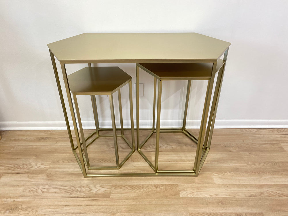 Gold Hexagonal Tables (3 sizes)- For Rent