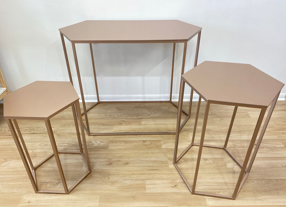 Rose Gold Hexagonal Tables ( 3 Sizes) - For Rent