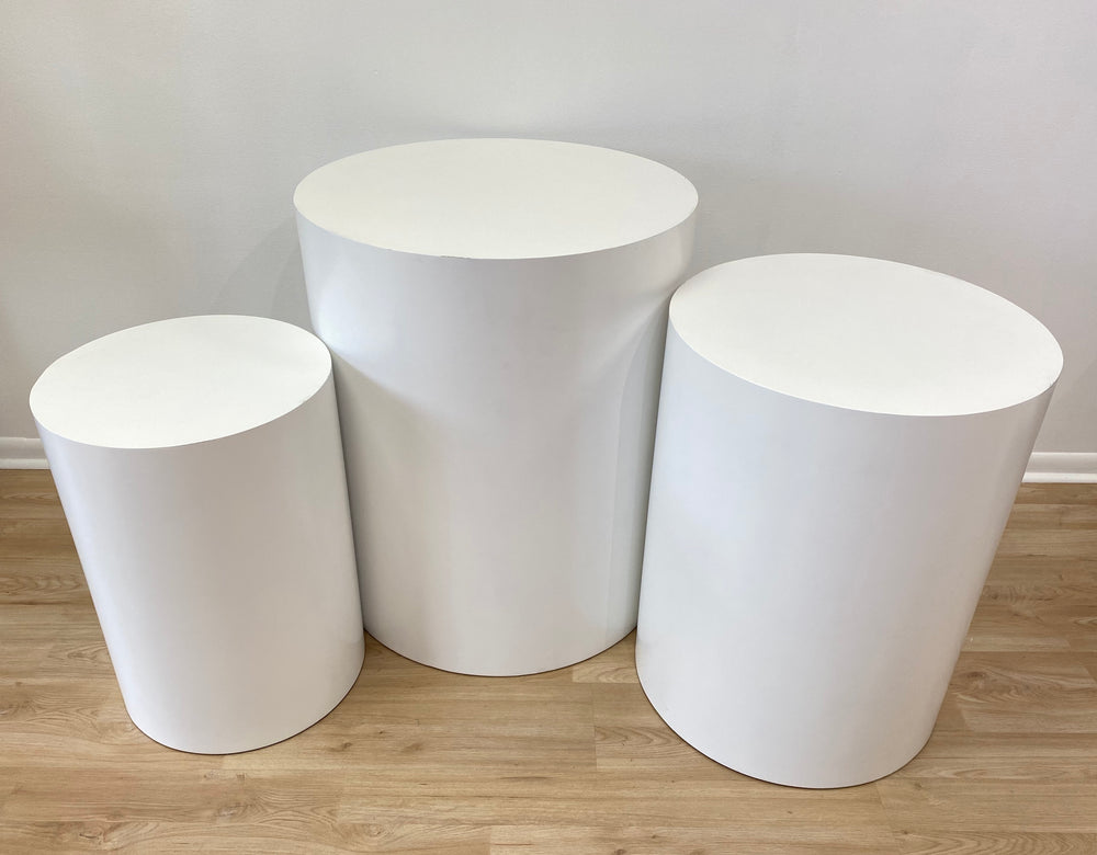 White Cylinder Tables ( 3 sizes)  - For Rent
