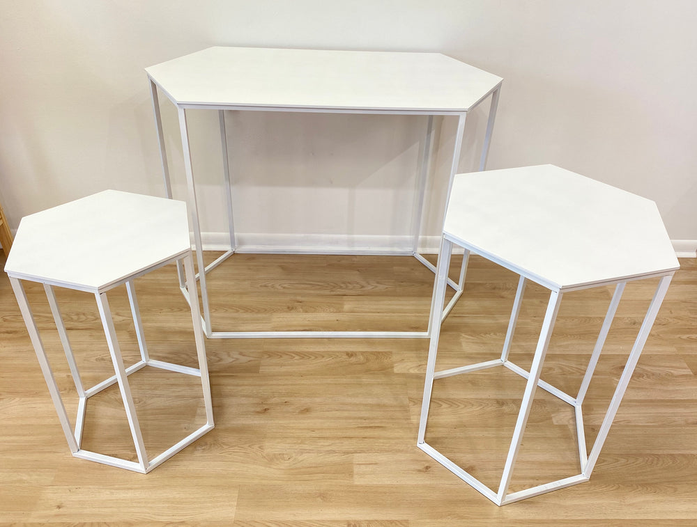 White Hexagonal Tables ( 3 sizes)  - For Rent