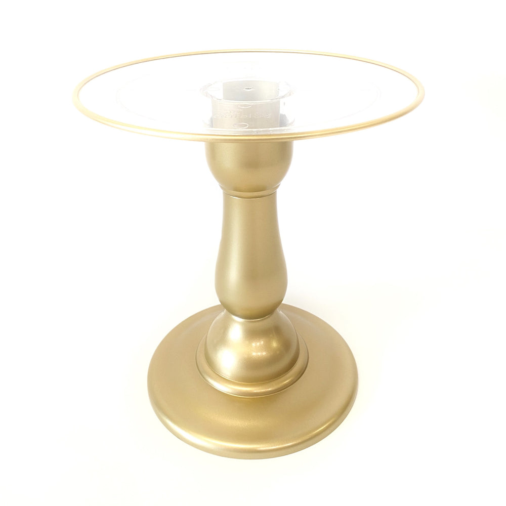 "Gold  9"" Round Clear Plate with Gold Border Tall Cake Stand (235/220C) - FOR RENT"