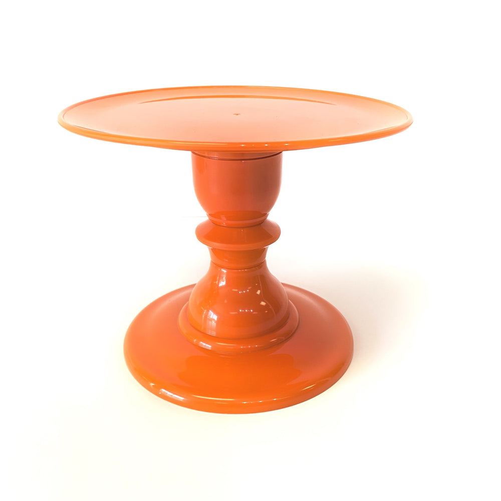 "Orange Cake Stand with 9"" Round Plate (165/220) - FOR RENT"