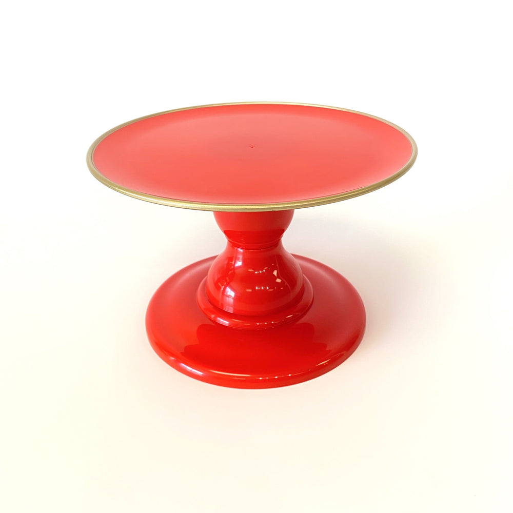 "Red 9"" Round Plate with Gold Border Small Cake Stand (135/220F)"