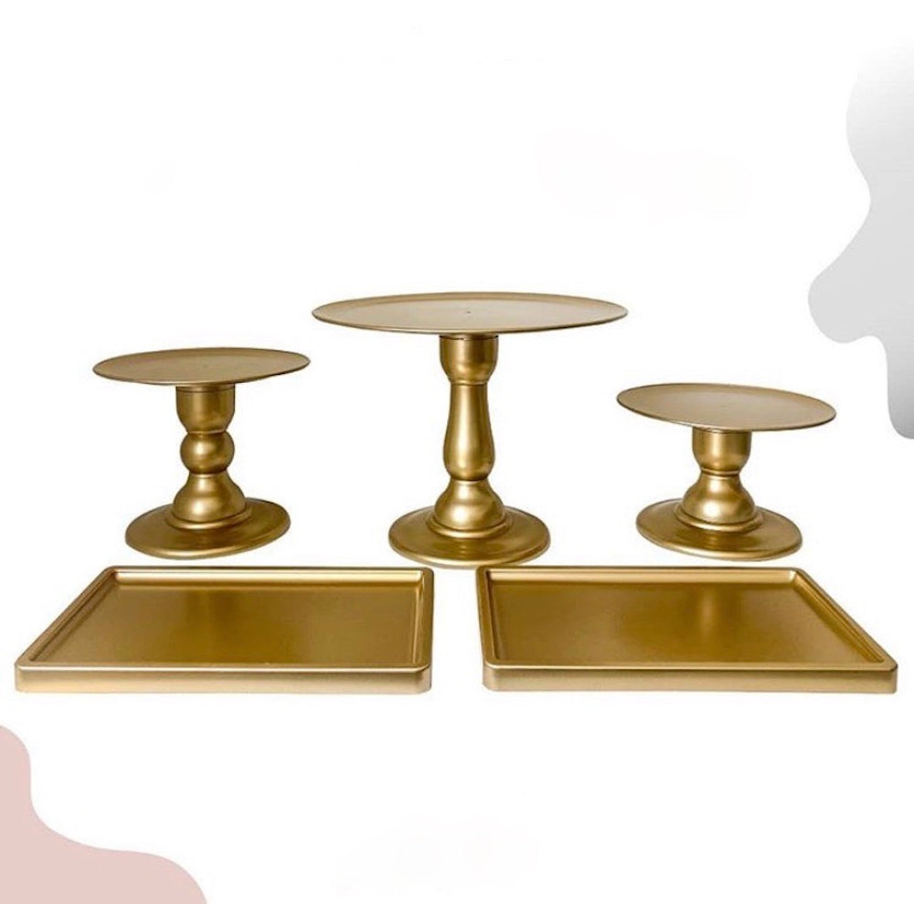 "Gold  9"" Clear Plate with Gold Trim Super Premium Cake Stand (195/220C)"