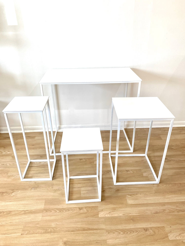 White Tables ( 4 sizes) - For Rent