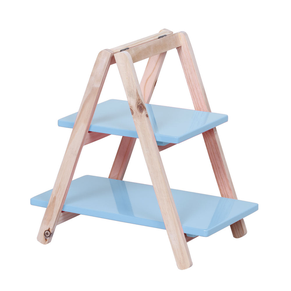 2-Tier Light Blue Cupcake Display Ladder - For Rent