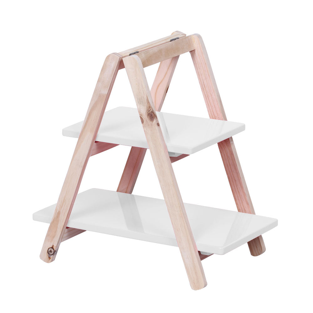 2-Tier White Tabletop Display Ladder - For Rent