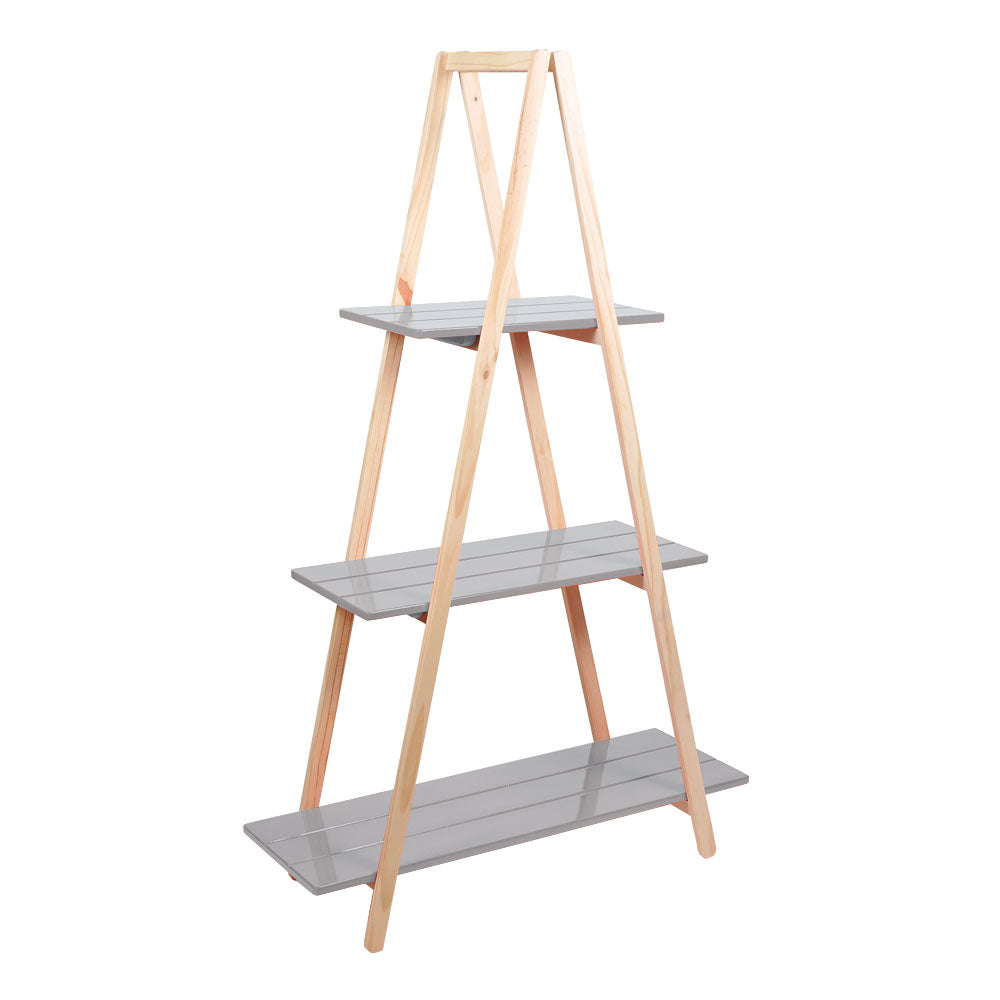 Dark Gray Tall 3-Tier Triangle Ladder Shelf Display - For Rent