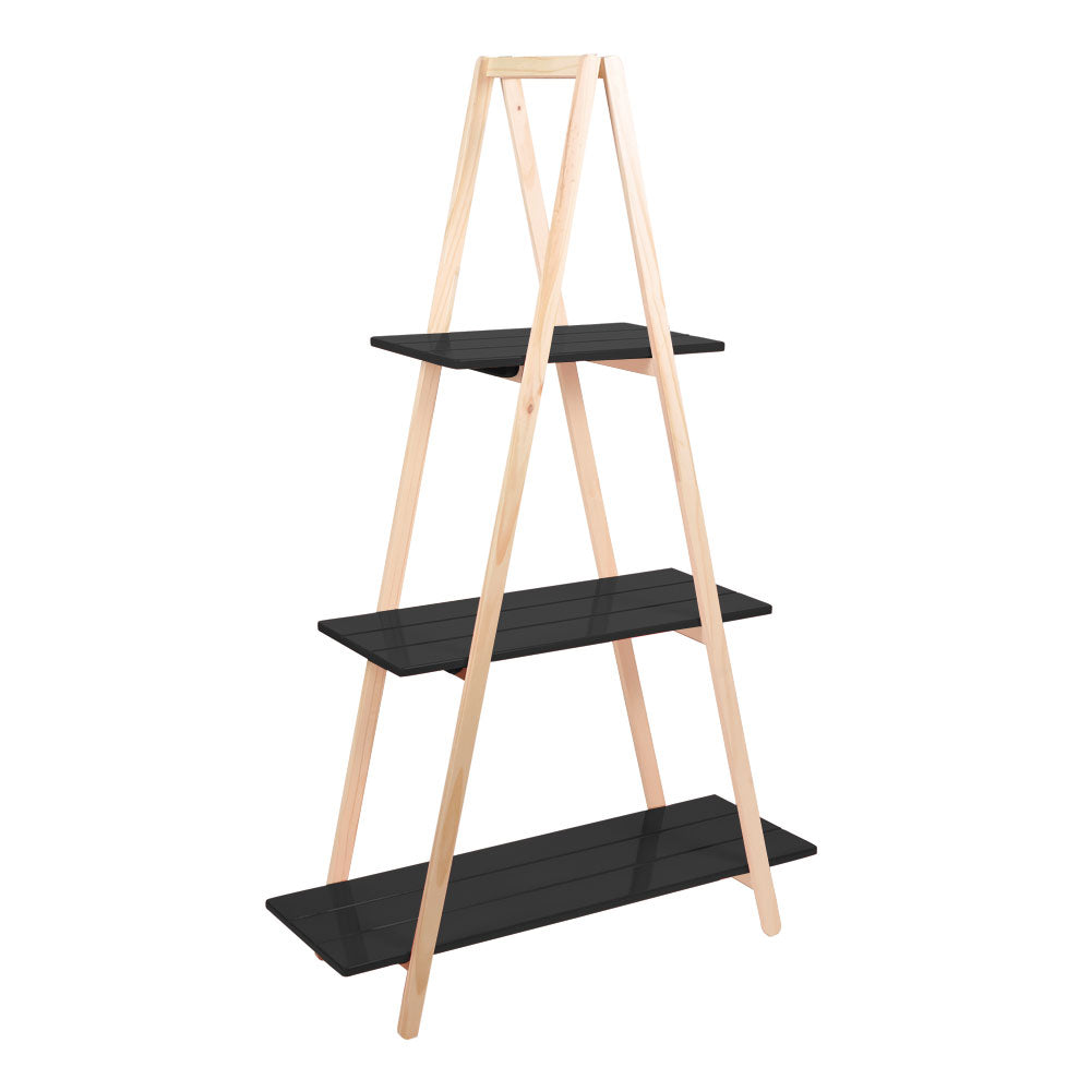 Black Tall 3-Tier Triangle Ladder Shelf Display - For Rent