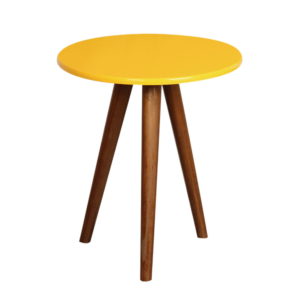 Yellow Round Table with 3 Legs