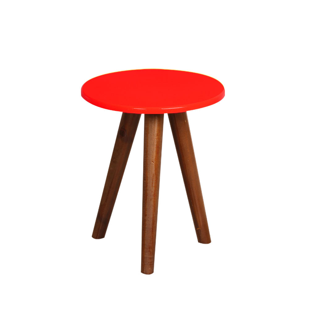 Red Round Table with 3 Legs - For Rent