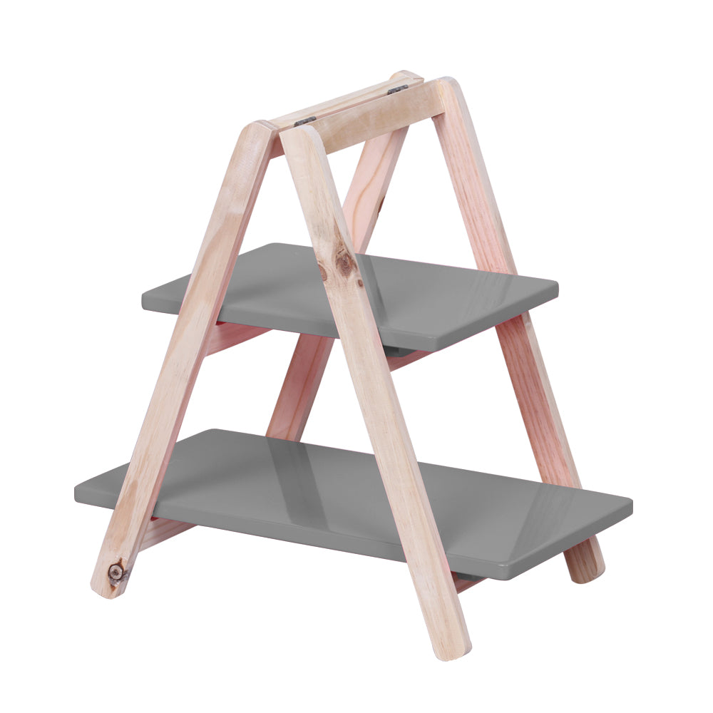 2-Tier Dark Gray Tabletop Display Ladder