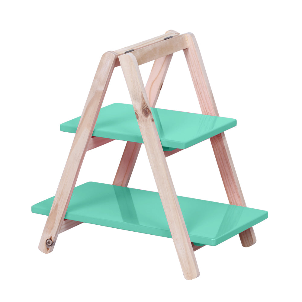 2-Tier Turquoise Tabletop Display Ladder - For Rent