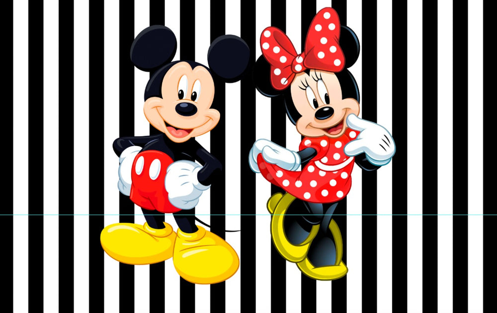 Minnie and Mickey Premium Fabric Backdrop - For Rent