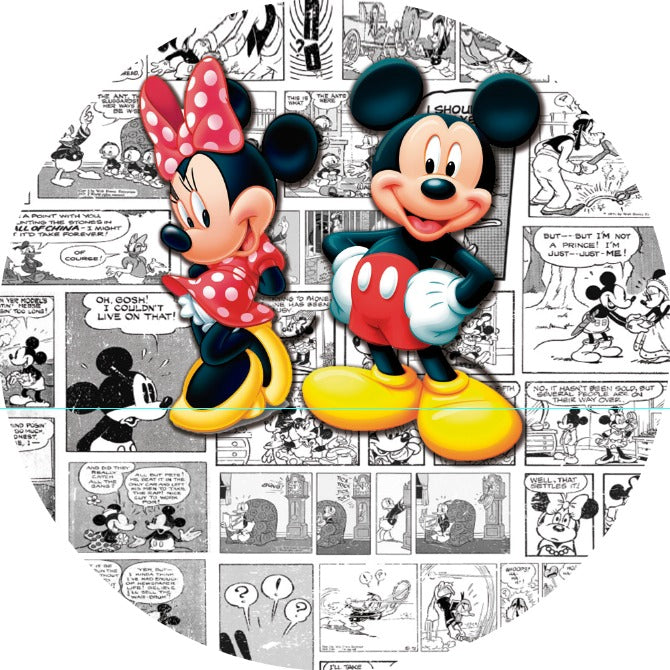 Minnie and Mickey Round Premium Backdrop 7 ft - For Rent