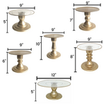 "Gold  9"" Round Clear Plate with Gold Border Tall Cake Stand (235/220C)"