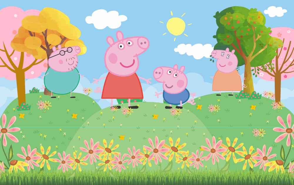 Peppa Pig Premium Fabric Backdrop 13ftx8ft - For Rent
