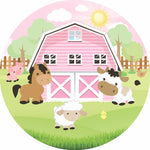 Round Pink Farm Premium Fabric Backdrop  5ft - For Rent