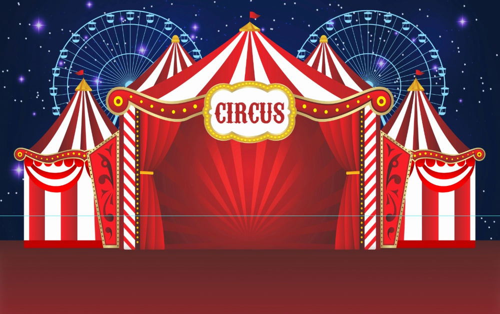 Red Circus Theme Premium Fabric Backdrop 13' x 8' ft- For Rent