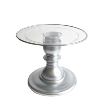 "Silver 9"" Clear Plate with Silver Border Premium Cake Stand  (165/220C) - FOR RENT"