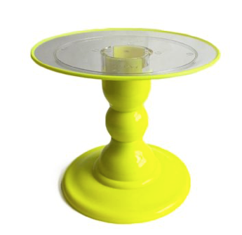 "Yellow NEON Stand with 9"" Clear Round Plate and Yellow Border (180/220F)"