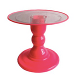 "Pink NEON 9"" Clear Round Plate with Pink Border Cake Stand (180/220C) - FOR RENT"