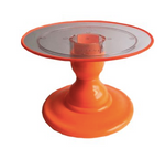 "Orange NEON 9"" Clear Round Plate with Orange Border Small cake Stand (135/220F) - FOR RENT"