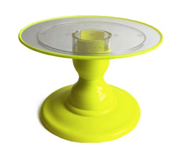 "Yellow NEON Small Stand with 9"" Clear Round Plate and Yellow Border (135/220F)"