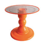 "Orange NEON Stand with 9"" Clear Round Plate with Orange Border(180/220F)"