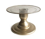 "Gold 9"" Round Clear Plate with Gold Border Premium Small Cake Stand (135/220C)"