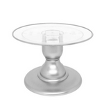 "Silver 9"" Round Clear Plate with Silver Border Small Cake Stand (135/220C)"