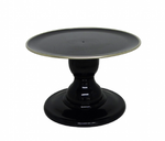 "Black 9"" Round Plate with Gold Border Premium Small Cake Stand (135/220F)"