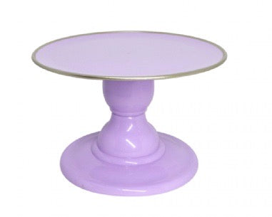 "Light Pastel Purple 9"" Round Plate with Gold Border Small Cake Stand (135/220F)"
