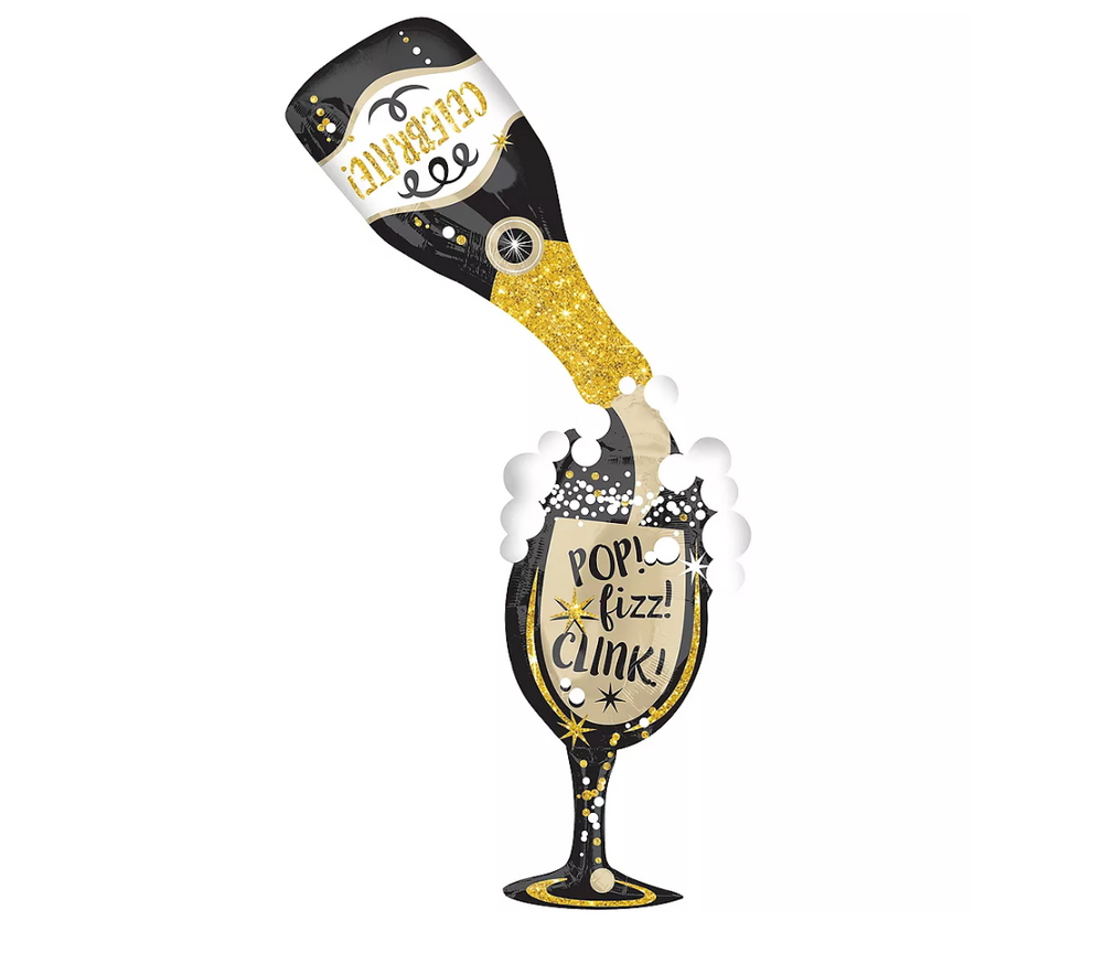 Roaring 20's New Year Champagne Bottle Supershape, 70in