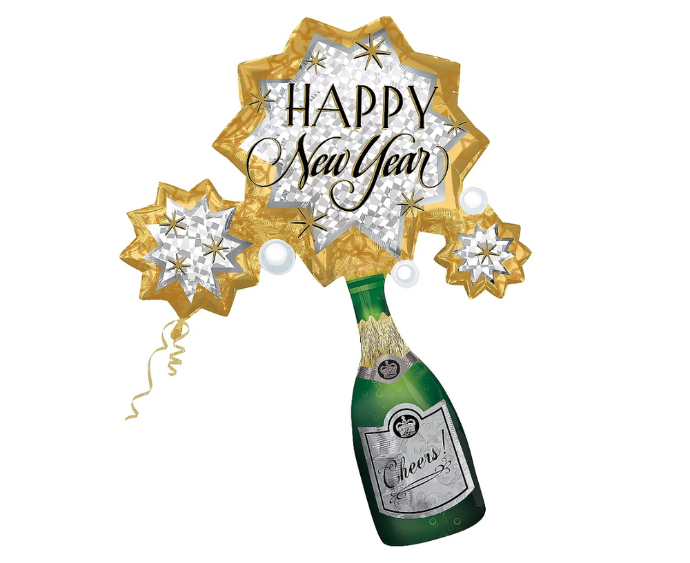 Champagne Bottle Burst Happy New Year -Supershape, 46in