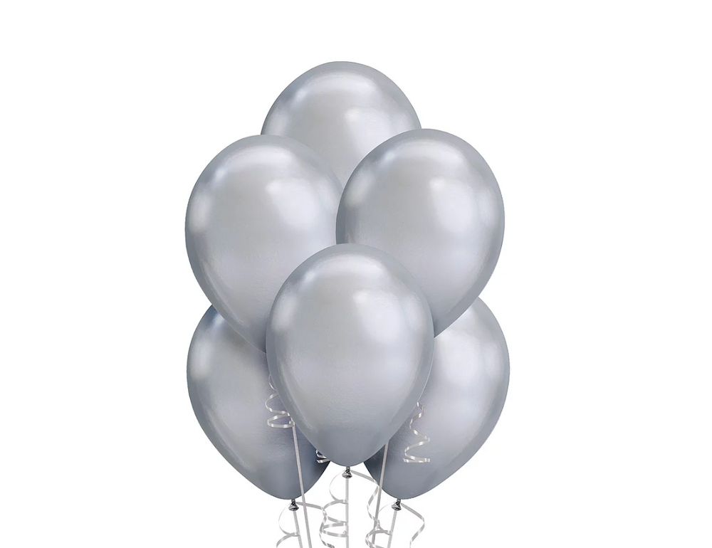 Silver Chrome Balloons 15ct, 11in.