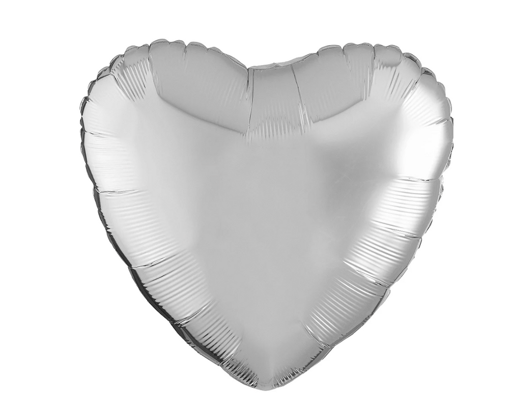 Chrome Silver Heart Balloon, 17in