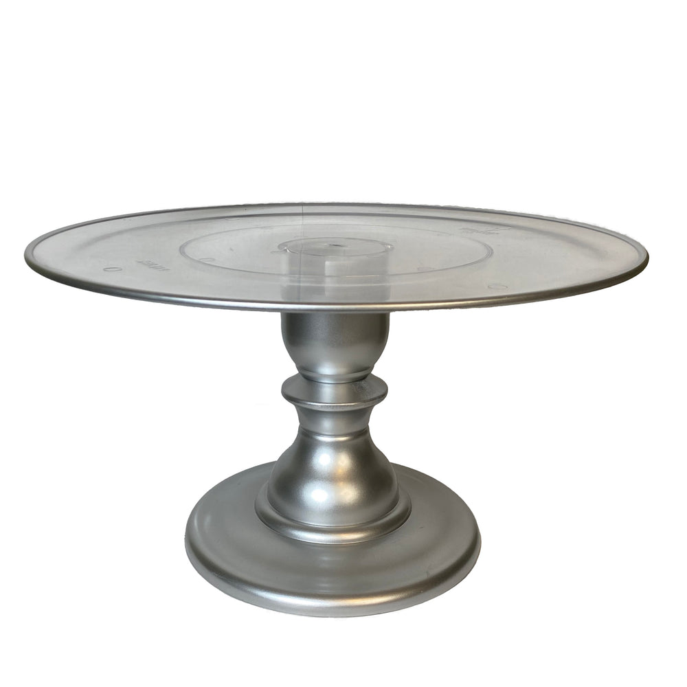 "Silver 12"" Clear Plate with Silver Border Premium Cake Stand  (165/320C)"